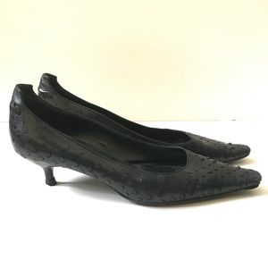 Prada Black Leather Kitten Heels 37